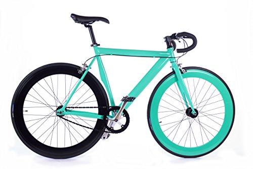 BOX39 Bici Single Speed/Fixed, Scatto Fisso, Nera/Verde Tiffany, La Vanitosa
