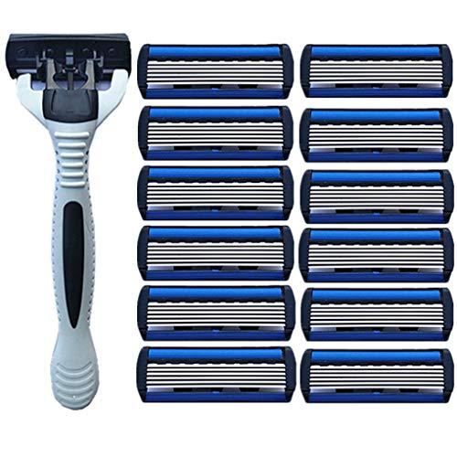babysbreath17 Titular 12pcs Agudo de Acero Inoxidable 6 Capas Hombres máquina de Afeitar la Barba de Afeitar Cuchillas de Afeitar Blanca 1pc
