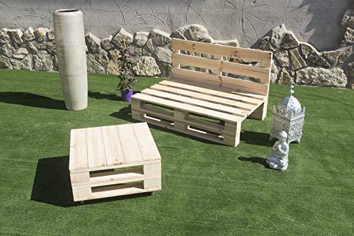 Palets Talavera SL Conjunto 1x Sofa Palet 12Ocm x 80cm 1x Mesa 80cm x 50cm Lijado Y Cepillado -Interior/Exterior Nuevo-Natural ⭐