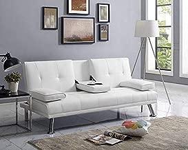 Naomi Home Futon Sofa Bed with Armrest White