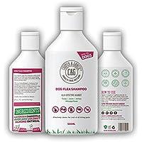 Champú antipulgas para perros – Piel sensible picazón de perro y cachorro Grooming – Tratamiento medicado contra pulgas 500 ml