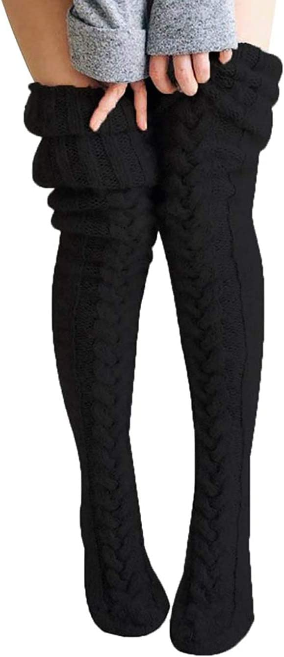 Black 2 TOYYOUNG Womens Cable Knitted Over Knee Socks Winter Thigh High Boot Socks Leg Warmer
