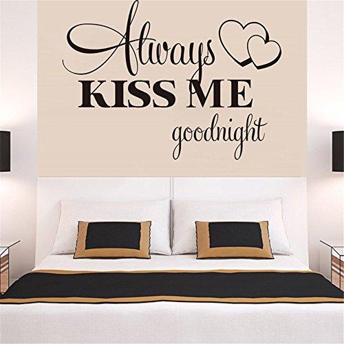 XIAOLE Sticker Autocollant Amovible Autocollant Autocollant décoratif Mural,Toujours embrassez-Moi Goodnight Warm Bedroom Bedroom Canapé Fond Wall Stickers éloignés 57 * 42Cm