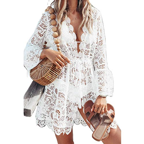 Siyova Copricostumi da Bagno per Donna a Manica Lunga Stampa Floreale all'Uncinetto in Pizzo Abito da Spiaggia Sexy Elegante Bikini Cover Up Copricostume Donna Mare (Bianca, M)