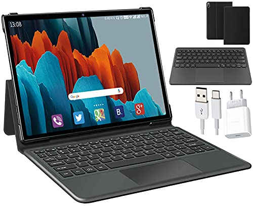 Tablet 10.1 Pollici con 5G WiFi 4G LTE Dual SIM, 6 GB RAM + 128 GB ROM,512GB Espandibili, 1200 * 800 Full HD IPS,Octa-Core, 7000mAh, 2MP+5MP Doppia Fotocamera, con Tastiera e Custodia per Tablet