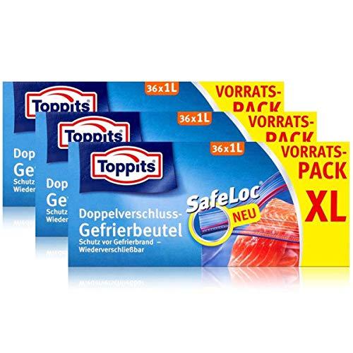 Toppits Doppel-Verschluss Gefrierbeutel 36x1 Liter (3er Pack)