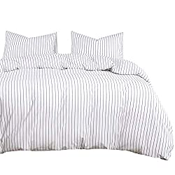 Wake In Cloud - White Striped Duvet Cover Set 3PCS 100% Washed Cotton