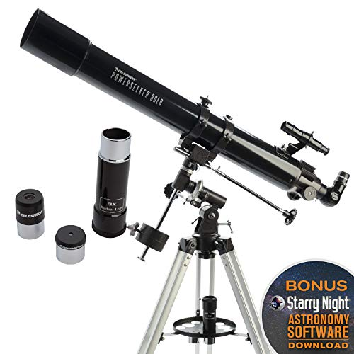 Celestron - PowerSeeker 80EQ Telescope - Manual German Equatorial Telescope for Beginners - Compact and Portable - BONUS Astronomy Software Package - 80mm Aperture
