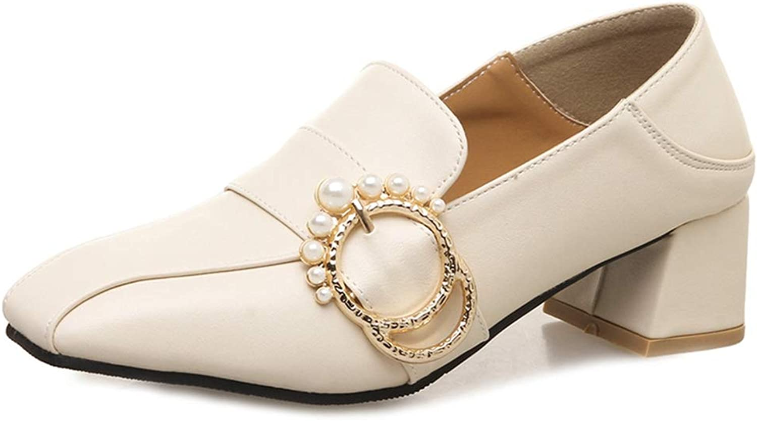 GIY Women's Square Toe Oxford Loafer shoes with Buckle Slip-On Chunky Mid Block Heel Backless Pump Brogue
