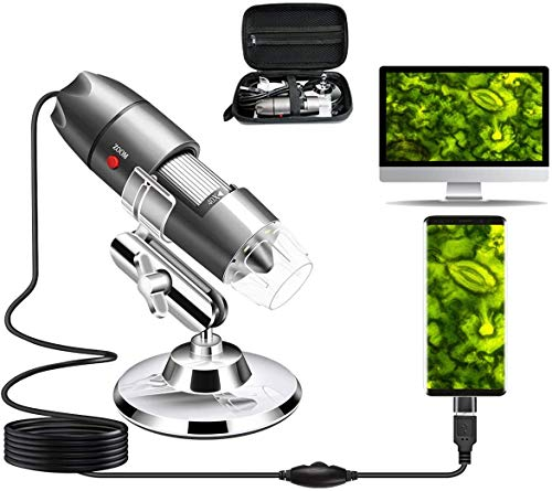 USB Microscope Camera 40X to 1000X, Digital Microscope with Metal Stand & Carrying Case Compatible with Android Windows 7 8 10 Linux Mac, Portable Microscope Camera (USB Microscope)