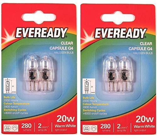 4Stiftkopflampen von Eveready, G4, 20W, 12V, Halogen, dimmbar, 240Lumen, 2000Stunden Lebensdauer, klar
