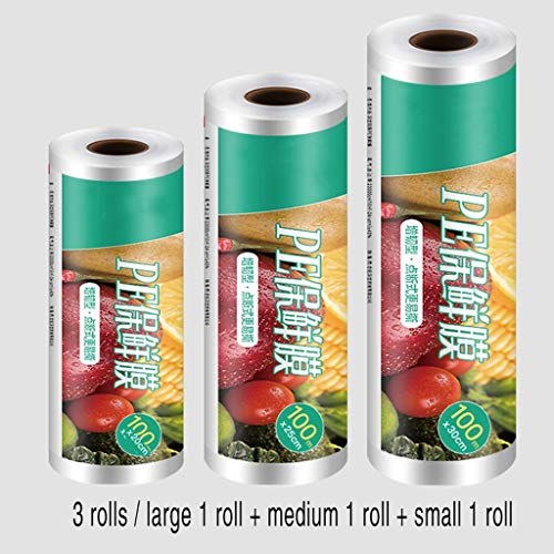 Plasticfolie Voor Geschenkmanden Preservation Huishouden, 3-roll Combinatie Saran Wrap For Gemakkelijk Te Scheuren Voedsel Protection, Speciale Stretch Film For Huishoudelijke Eten