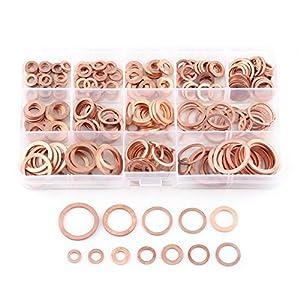 Paquete de 280 piezas Arandela plana de cobre Arandelas planas Juego de anillo de sellado plano con caja para tornillos Tornillos Sujetadores (12 tamaños)