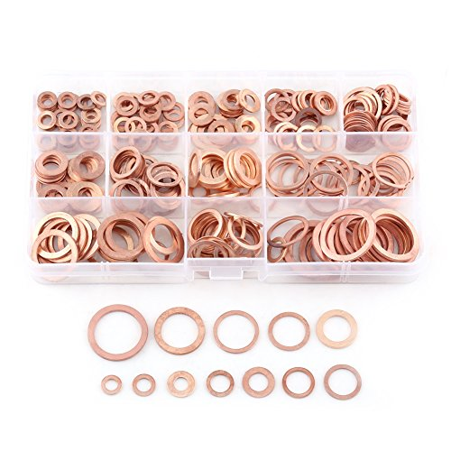 280 Stück Kupferdichtringe Kupfer flache Scheibe Unterlegscheiben flache Dichtring Sortiment Kit mit Box passend für Schrauben Schrauben Verbindungselemente (12 Größen) (280 Stücke)