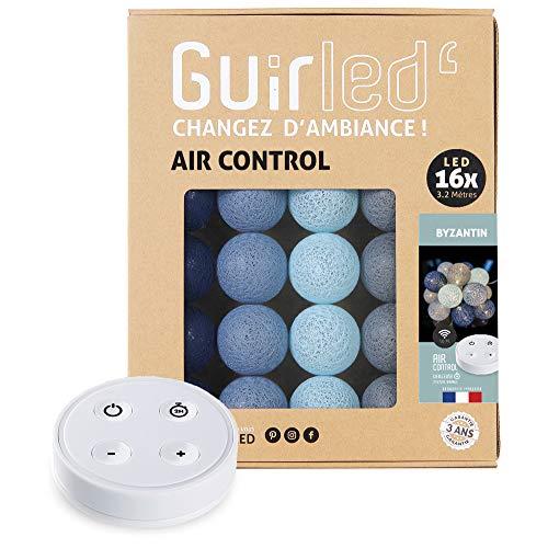 Guirlande lumineuse boules coton LED USB - Télécommande sans fil - Veilleuse bébé 2h - Adaptateur secteur double USB 2A inclus - 4 intensités - 16 boules 3.2m - Byzantin