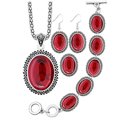 SALAN Girasol Oval Sintético Turquesa Joyas Conjuntos Collar Pulsera Pendientes Anillo para Mujeres Antigua Joyería Plateada Plata