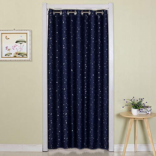 WPKIRA Grommet Top Blackout Curtain Navy Stars Printed Doorway Curtain All Season Room Darkening Thermal Insulated Blackout Curtain for Windows 39x78 Inch 1 Panel