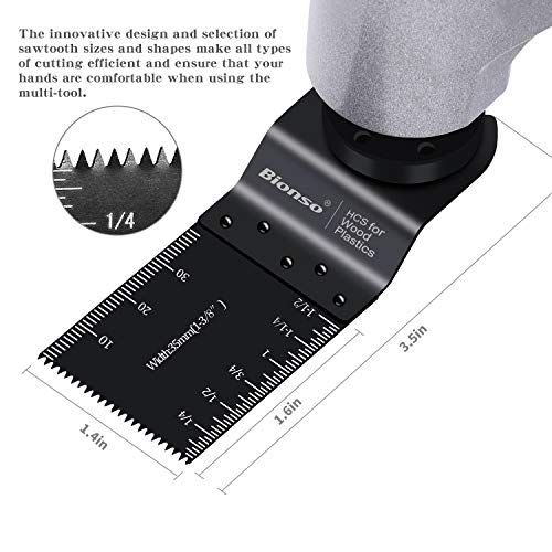 Bionso 55 Wood Oscillating Tool Saw Blades, Professional Universal Multitool Blades Kit, Quick Release Multi Tool Blades Fit Dewalt Dremel Porter Cable Fein Worx Bosch Makita Milwaukee