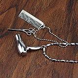 Collar encantador de joyería para mujer y unisex, secador de pelo, tijeras, peine, colgante de cadena, kit de peluquería, el mejor regalo para ella, color: plata (color: plata)