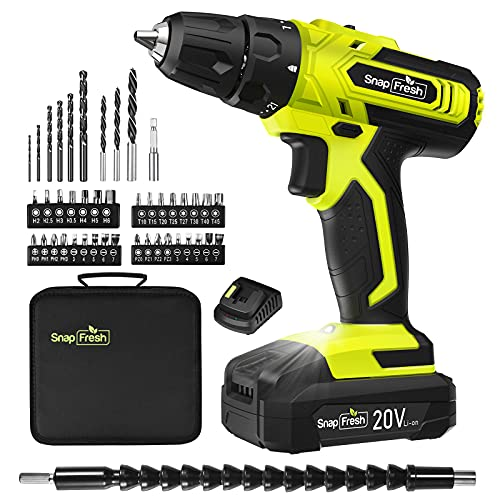 SnapFresh Cordless Drill - 20V Cordless Drill with Battery & Charger, Impact Drill Set for Home, Power Drill Driver with Variable Speed Control, Electric Drill Combo Kit (Battery & Charger Included)