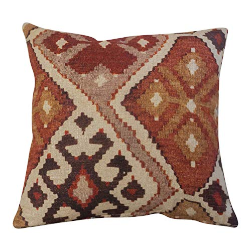 Kilim Turkish Style Printed Double Sided Cushion Cover. 17' x 17' (45cm) Square Scatter Pillow Case. Handmade from super soft 100% natural linen cloth in terracotta and burnt orange.