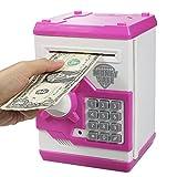 HUSAN Hucha electrónica para niños con código electrónico de cerditos, Mini cajero electrónico para Monedas ATM, Caja de Monedas, Juguete Divertido Regalo (Rosa)
