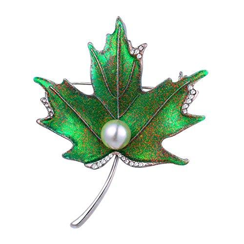 U7 Broche de hoja de arce verde perla diamantes de imitación, chapado en oro/platino, broche para bufandas, broche de solapa, joyería de moda para mujeres/hombres