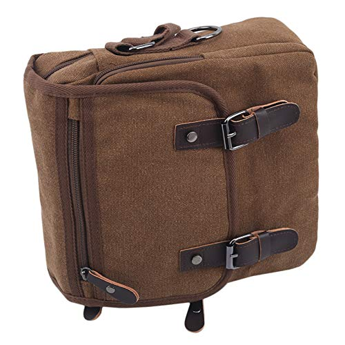 Yeucan Vintage Canvas Crossbody Handbag Square Multi Pockets Messenger Bag,Brown