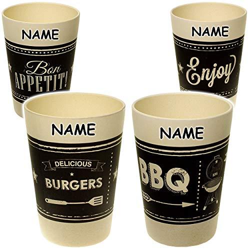 alles-meine.de GmbH 4 Stück _ Bambus - Trinkbecher / Zahnputzbecher / Malbecher - Becher -  Retro - Motiv-Mix  - inkl. Name - 300 ml - mehrweg - BPA frei - Trinkglas Bambusbech..