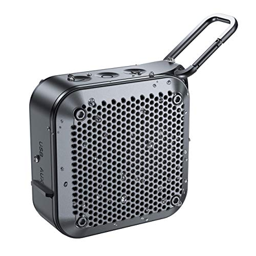 Portable Bluetooth Speaker, IPX7 Wireless Shower Bluetooth Speaker V5.0 with 10W Loud Stereo HD-Sound, Built-in Mic, FM Radio, TF Card, 12H Playtime, Shower Speaker for Phone, iPad, Mac, (Black)