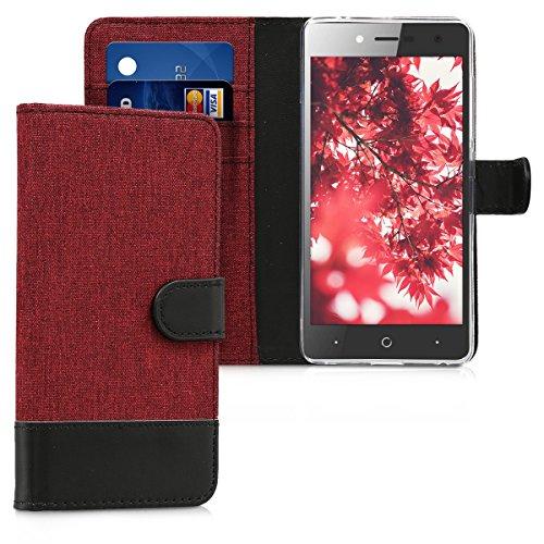 kwmobile Wallet Hülle kompatibel mit ZTE Blade L7 - Hülle mit Ständer - Handyhülle Kartenfächer Dunkelrot Schwarz