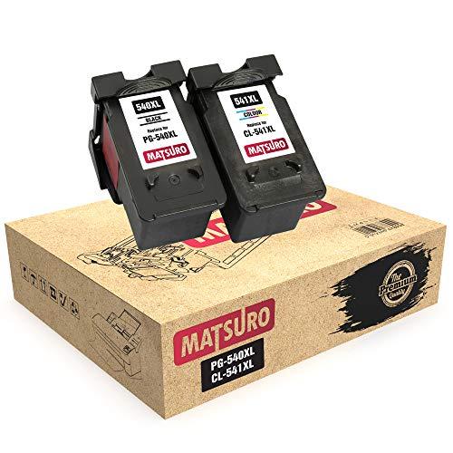 Matsuro Original | Kompatibel Remanufactured Tintenpatronen Ersatz für Canon PG-540XL CL-541XL PG-540 CL-541 (1 Set)