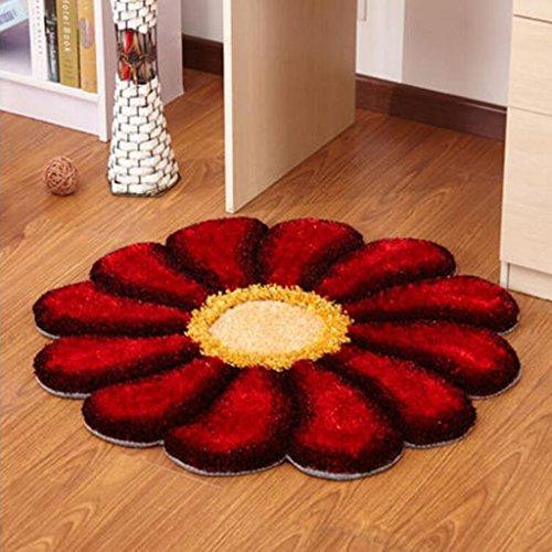 LINGZHIGAN Tapis rond rouge motif de fleur de soleil rond chambre salon pivotant ordinateur chaise (90 cm de diamètre)