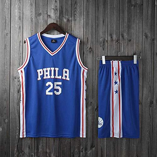 Ordioy Camisetas De Baloncesto De La NBA para Hombre, Ben Simmons # 25 Philadelphia 76Ers Baloncesto Fans Jersey Set, Equipo De Entrenamiento Ropa Uniforme Top & Short,Azul,L