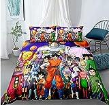 Nat999Lily Juego De Cama Dragonball Goku, Funda Nórdica De Anime 3D, Juego De Cama De Microfibra con Cremallera, Textil para El Hogar De Moda 229X229Cm Estilo 7