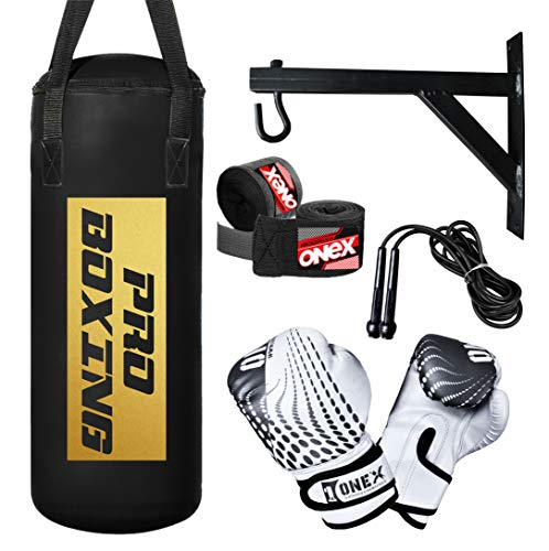 ONEX 2Ft Kids Punch Bag Set Junior Heavy Duty Filled KickBoxing bag MMA Training sparring Gloves Punching Bags