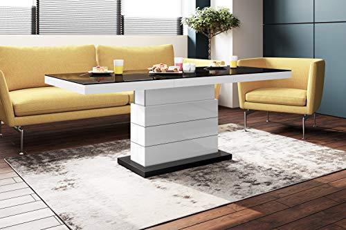 Design Couchtisch Tisch Matera Lux H-333 Schwarz/Weiß Hochglanz höhenverstellbar ausziehbar Wohnzimmertisch Esstisch