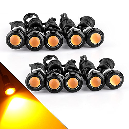 YITAMOTOR 18mm Eagle Eye Led Bulbs Amber Car Motorcycle Daytime Running Lights DRLs Fog Signal Backup Reverse Power Wheel Front Grill Bumper License Plate Universal Light, 10-Pack
