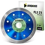 Amboss FLS 23R - extra dünne Diamant-Trennscheibe (1,2 mm) | Ø 115 mm x 22,2 mm - Fliesen/extra hartes Feinsteinzeug/harte Granite/Keramik | Segmenthöhe: 10 mm