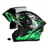 MJW motocross Bluetooth helmet, flip travel helmet with dual-speaker auto answer microphone, suitable for road racing, off-road,DevilGreen,XXL