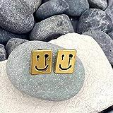 ZSCZQ Pendientes de botón Cuadrados de Cara Abstracta con Encanto Lindo Dulce para Mujer Pendientes Retro contratados de Metal Boucles D'oreilles Brincos Color Dorado