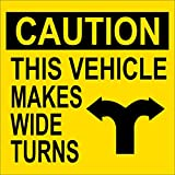 LPF USA Caution This Vehicle Makes Wide Turns Sticker (semi Truck Decal)