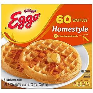 Evaxo Eggo Homestyle Waffles, Frozen (60 waffles)