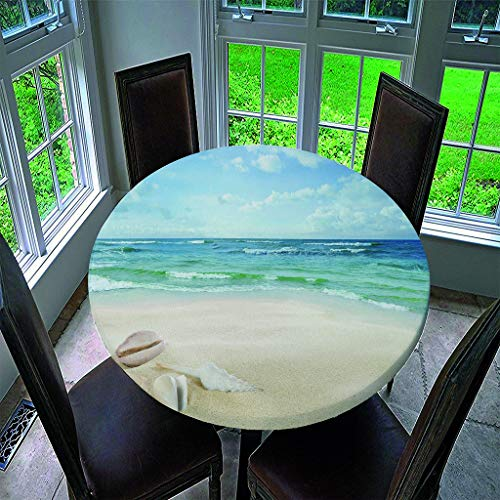 Chickwin Round Fitted Tablecloth Elastic Edged Waterproof Polyester 3D Beach Landscape Printed Wipe Clean Table Cover, Kitchen Patio Dining Room Table Protector (59 inch,A)