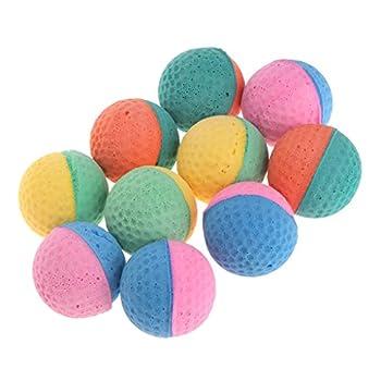 Yinuneronsty 10 Pcs Jouets pour Animaux en Latex Balles Colorées À Mâcher pour Chiens Chats Chiot Chaton Chaton Élastique Doux