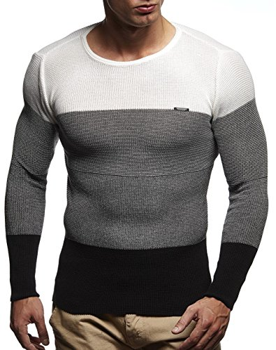 Leif Nelson pour des Hommes Pullover Pull en Tricot Hoodie Basic col Rond Crew Neck Sweatshirt Longsleeve Manche Longue Sweater Feinstrick LN1440; Taille XL,