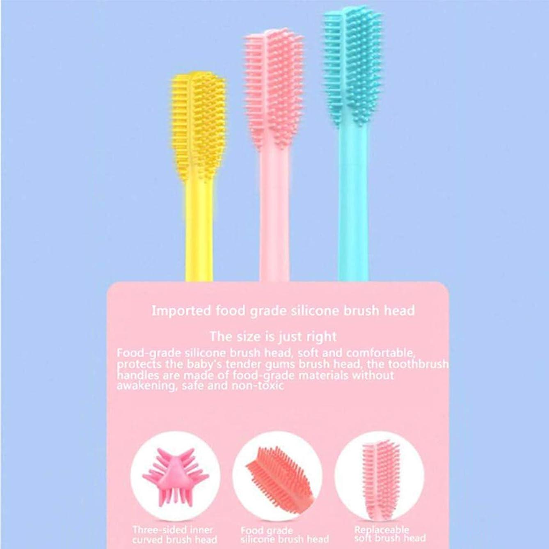 マリンうそつきジェム子供用充電式電動歯ブラシ、透明カップ付きシリコーン電動歯ブラシ、ワイヤレス充電、安全な食品グレードのシリコーンヘッド,Pink
