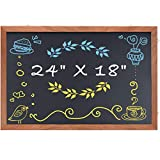Magnetic Chalkboard Wood Frame, 24 x 18 inches Non-Porous Framed Rustic Chalkboard for Wedding Kitchen Bar Restaurant Menu, Home Magnet Blackboard Wall Mounted Chalkboard