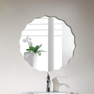 ZYLE جولة الحمام مسطح مرآة مموجة حافة الحافة الخيالة الحمام بالوعة مستحضرات التجميل مرآة (50 سم)