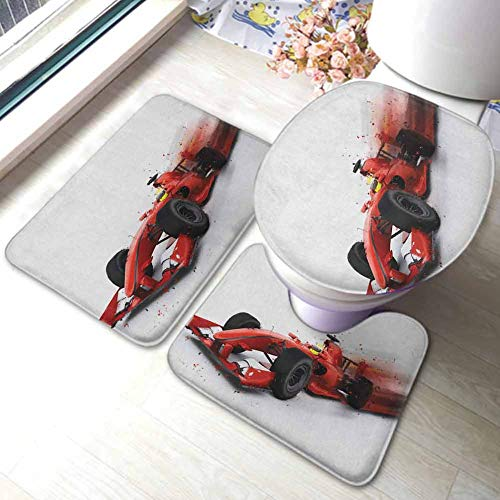 Cars 3-Piece Non-Slip Bath Mat Rug Set Generic Formula 1 Racing Car Illustration with Special Effect Turbo Motion Auto Print,Non Slip Absorbent Bathroom Rug Red Black